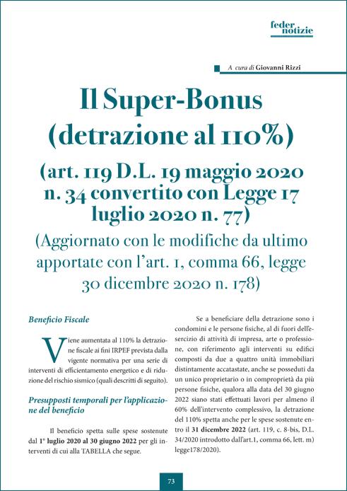 Il Super-Bonus (detrazione al 110%)