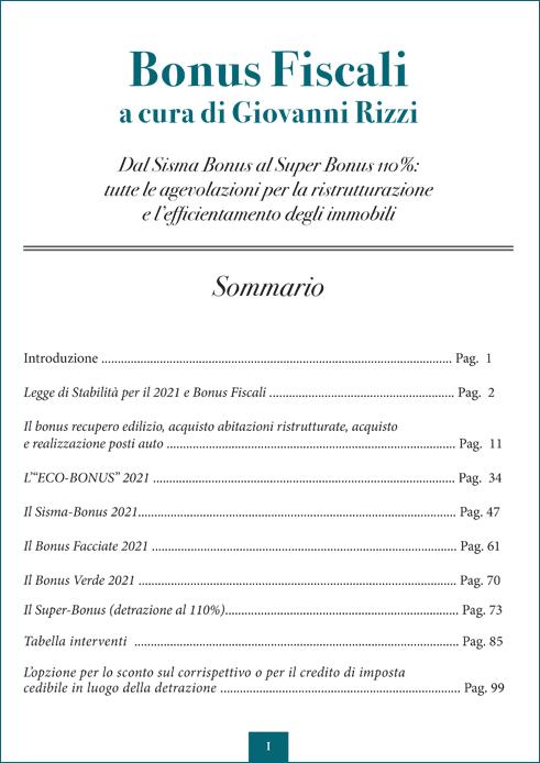 Bonus Fiscali - Sommario