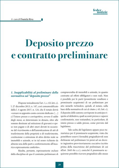 Deposito prezzo e contratto preliminare