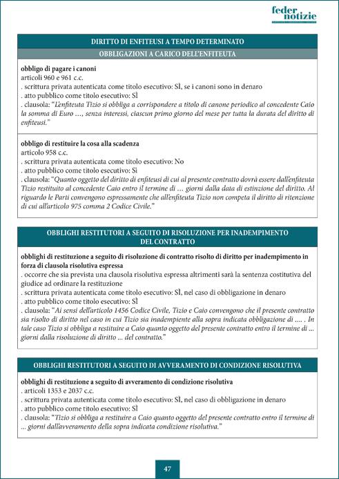 Il titolo esecutivo notarile - Tabelle di esempio
