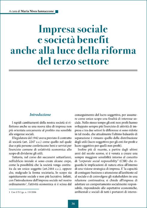 Impresa sociale e società benefit alla luce della riforma del terzo settore