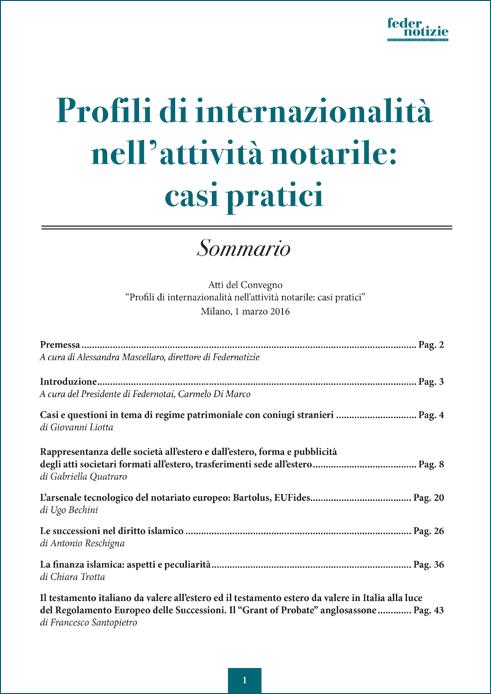 Profili di internazionalità nell'attività notarile: casi pratici - Sommario