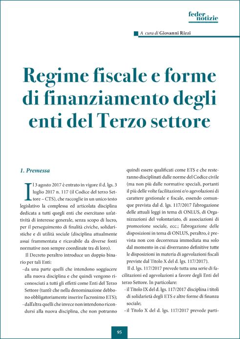 Regime fiscale e forme di finanziamento degli enti del Terzo Settore