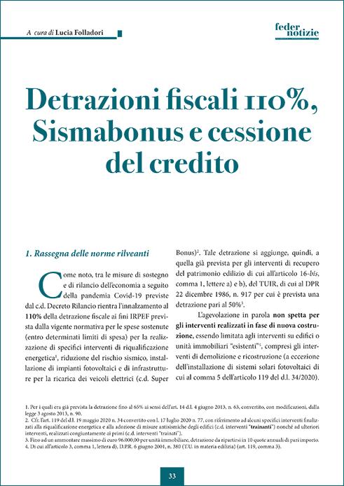 Detrazioni fiscali 110%. Sismabonus e cessione del credito